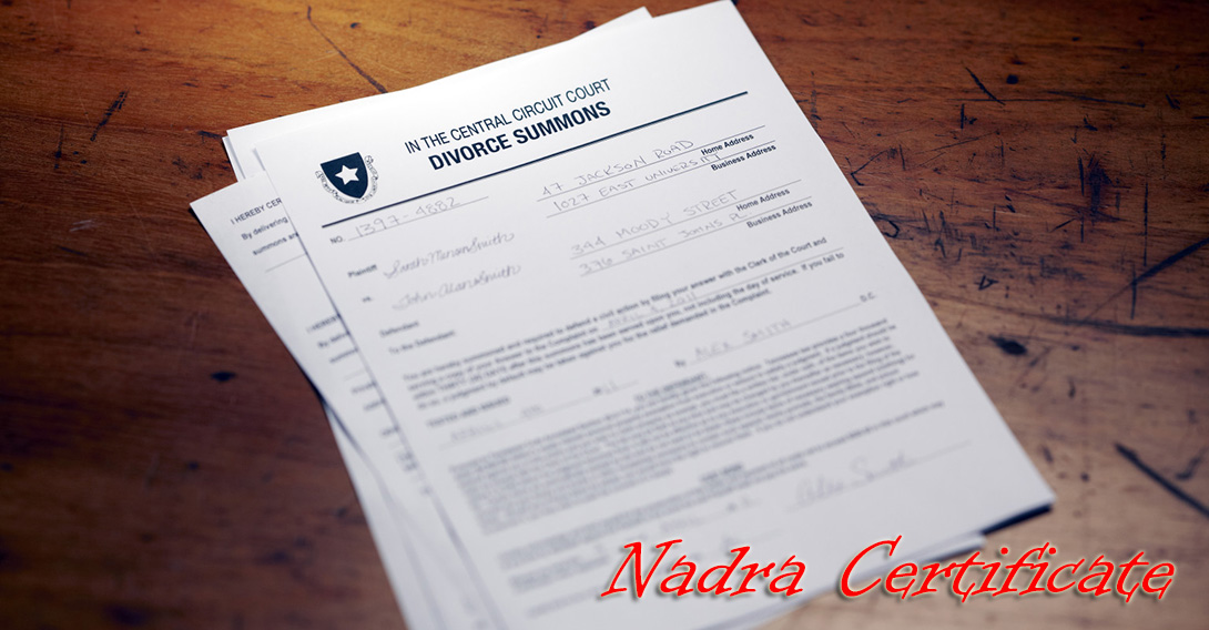 Nadra Divorce certificate in Pakistan-Birth & Marriage