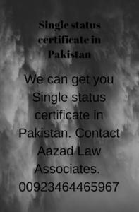 Single status certificate in Pakistan