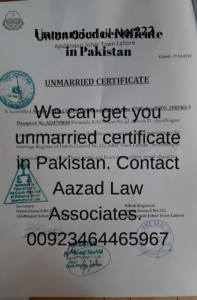 How to get unmarried certificate in Pakistan