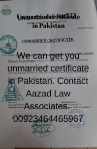 How to get unmarried certificate in Pakistan